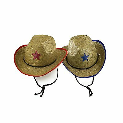 12pk Kids Strawhat Cowboy Hats Rodeo Sheriff Costumes Western Party Favors