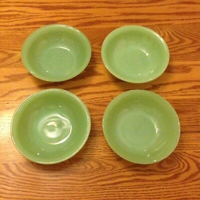 """Four 4 Signed Anchor Hocking Fire-King Jadite 'Jane Ray' 5 7/8"""" Cereal Bowls VG"""