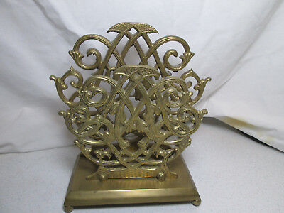 Vintage Solid Brass Ornate Letter or Napkin Holder