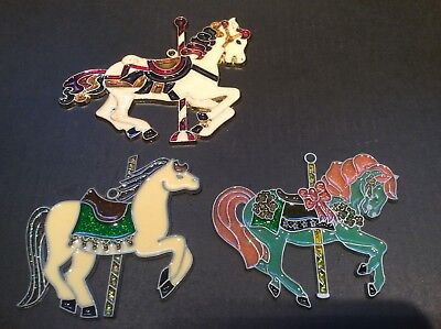 3 Carousel Horse Ornaments - Stained Glass Look    #4