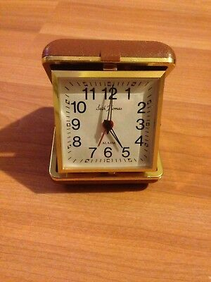 VINTAGE SETH THOMAS TRAVEL ALARM CLOCK INSIDE CASE pr