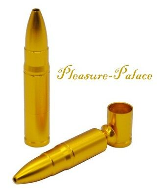 CLOSEOUT SALE!.... Gold Metal BULLET Tobacco Smoking Pipe & FREE Pack of Screens