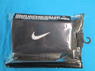 New Nike Premiere Black Double Wide Wristbands  2 Pack  PAC #275