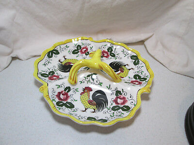 Ucagco PY Early Provincial ROOSTER & ROSES 3 part Relish Dish