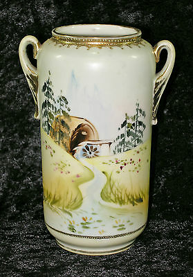 Antique Noritake Nippon Cherry Blossom Hand Painted Vase W/ Old Water Wheel Mill