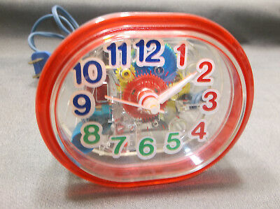 Vintage Rare Retro Red Ingraham Electric Alarm Clock See Through Clear USA 1980s