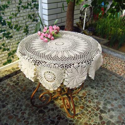 Crochet Tablecloth Vintage Floral Table Cloth Round Cover Handmade Home Decor