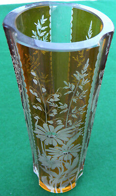 Vintage German Amber To Clear Cut Glass Crystal  Vase Kristail Stauber