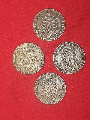 Wholesale Lot 4- 20Mm 2 Ore Sweden Swedish Crown Coin Vintage Antique Coins