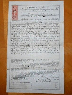 1866 November 7th  Adams County, Illinois Section 27  Land Deed Document