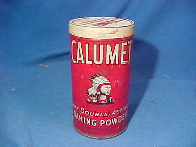 1930s CALUMET BAKING POWDER 1lb Advertising TIN w INDIAN Logo