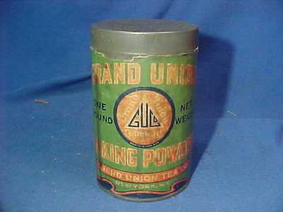 1920s GRAND UNION Brand BAKING POWDER 1lb Advertising TIN w Paper Label
