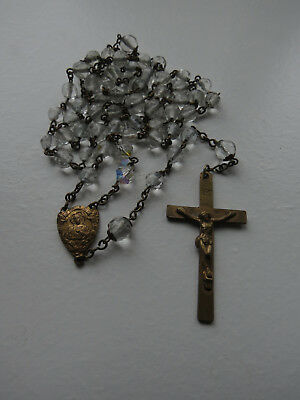 vintage clear glass crystal beads brass rosary