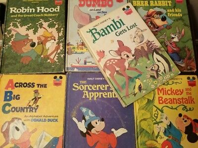 lot of 7 walt disney books wonderful world of reading 70s vintage