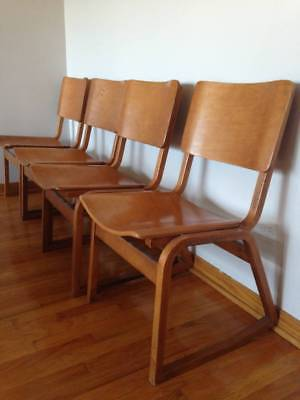 Vintage Four Mid Century Modern Thonet Chairs Bentwood