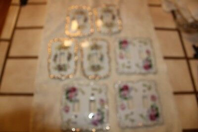 (7)Vintage PINK ROSES Porcelain Double/Single Light Switch Plate-Made in JAPAN