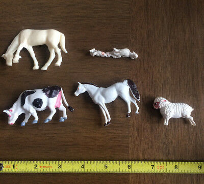 Vintage Plastic Farm Animals - Set of 5 - Made in Hong Kong