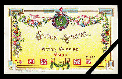 Vintage Perfume Soap Label: Antique French Savon Surfin Victor Vaissier Paris
