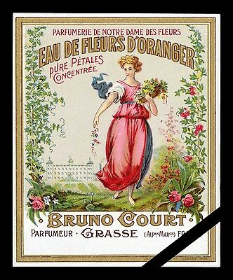 Vintage French Perfume Soap Label: Fleurs D' Oranger, Bruno Court, Grasse France