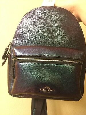 New authentic Coach Mini Charlie Backpack Pebble Leather Hologram Multi F24353
