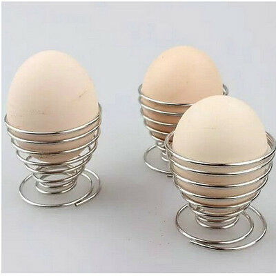 Boiled Egg Holder 1 Pcs Stand Metal Steel Silver Spring Wire Tray Eggs Cup New
