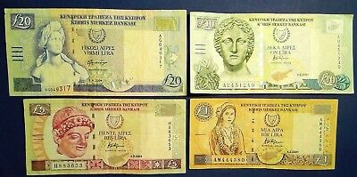 CYPRUS: Set of 4 Pound Banknotes  - Very Fine Condition