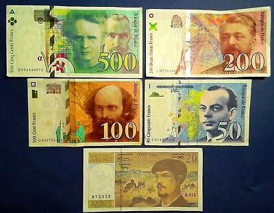 FRANCE: Set of 5 Francs Banknotes Extremely Fine Condition