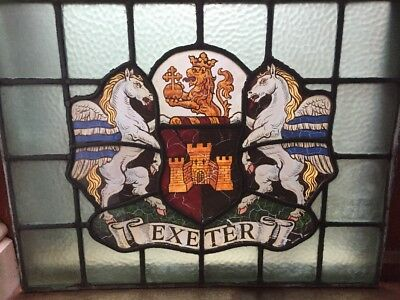 Antique Stained Glass Panel with Exeter Coat Of Arms Dates Circa 1880-1900.