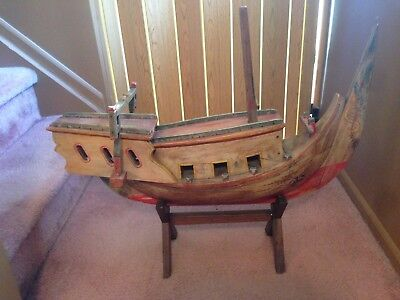 Rare One Of A Kind Estate Sale Find Antique Large Wood Carved Pirate  Ship