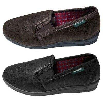 Mens Dunlop Distressed Faux Leather Twin Gusset Outdoor Sole New House Slippers