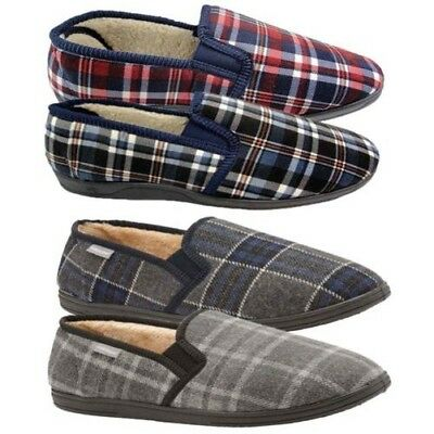 Dunlop Mens Slippers Warm Brushed Check Pattern Faux Fur Lined Twin Gusset Shoes