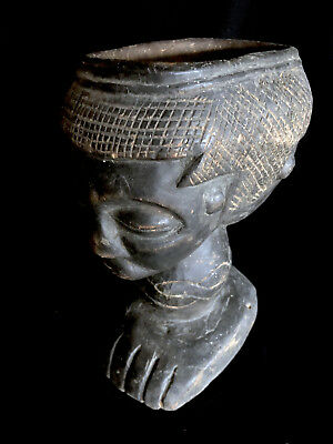 super !! double head fertility figure with large cup on the heads Dem.Rep. Congo