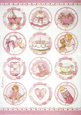 Rice Paper for Decoupage Scrapbook Craft Sheet - Baby girl round
