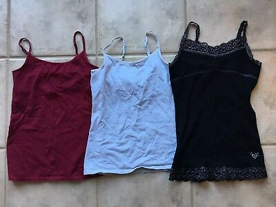 Justice Girls Size 10 Undershirt Tank Cami Lot of 3, Black Gray Burgundy Bra