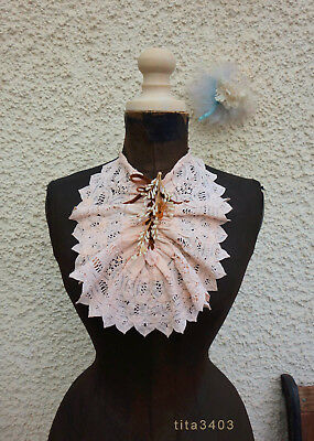 alter antiker? Spitzenkragen * JABOT * Antique? Cotton Tape Lace Collar