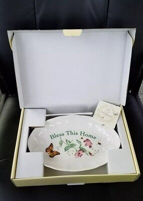 """Lenox Butterfly Meadow 11"""" Bless This Home Tray Bowl New in Box"""