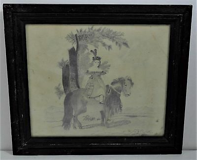 19th CENTURY FOLK ART DRAWING, GIRL ON A PONY, UPSTATE NEW YORK
