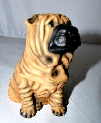 Vintage Castagna Chinese Shar-Pei Resin Dog Figurine 1988 4.25 Inches