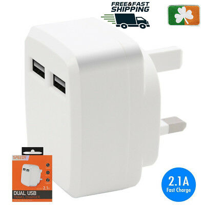 2.1A AMP Fast Dual Twin 2 Port USB Charger UK Mains Wall Plug Adapter Dual USB