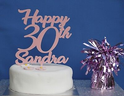 PERSONALISED Happy Birthday Cake Topper Any Age Coloured Acrylic 18th 21st 30th