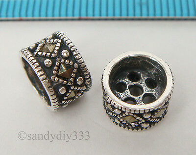 1x STERLING SILVER MARCASITE STONE RONDELLE TASSELS SPACER BEAD 8.8mm #2217