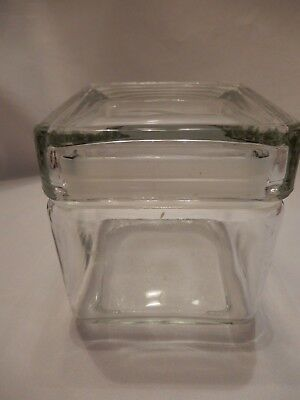 Clear Glass Square Canister with Lid 4 X 4.5 Inches Tall