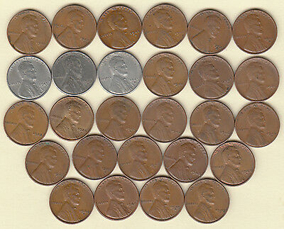 Complete Set (51) Different Lincoln Cents 1941-1958 Pds Nice Circulated Coins!