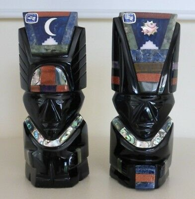 Obsidian And Precious Stone Inlays Aztec Gods Of The Sun And The Moon Sculptures