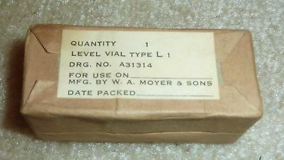 W. A. Moyer & Sons Vintage Level Vial Type L 1 A31314 Bubble Level NIB