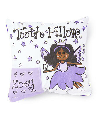 Personalized Purple Petal Fairy Brown Skin Tooth Fairy Pillow