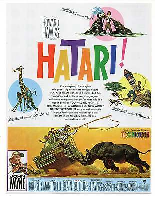 "HATARI! MOVIE AD, Repro 1960's Advertisement Art For Framing, 8.5"" x 6.5"""