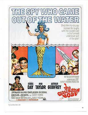 "TE GLASS BOTTOM BOAT MOVIE AD Repro 1960's Advertisement Art 8.5"" x 6.5"""