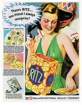 "RITZ CRACKERS AD, Repro 1930's Advertisement Art For Framing, 7.75"" x 10"""