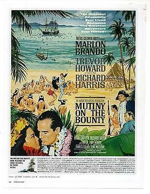 "MUTINY ON THE BOUNTY MOVIE AD, Repro 1960's Advertisement, 8.5"" x 6.5"""